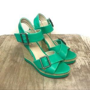 Aquamarine Wedge Sandals